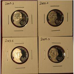 1340. 4 Proof Jefferson Nickels – 2009-S, 2010-S, 2013-S & 2014-S