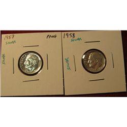 1346. 2 Proof SILVER Roosevelt Dimes – 1957 P & 1958 P