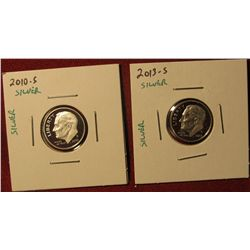 1349. 2 Proof SILVER Roosevelt Dimes – 2010-S & 2013-S