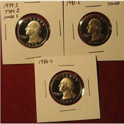 1350. 3 Proof Washington Quarters – 1979-S type 1 filled S, 1981-S & 1986-S
