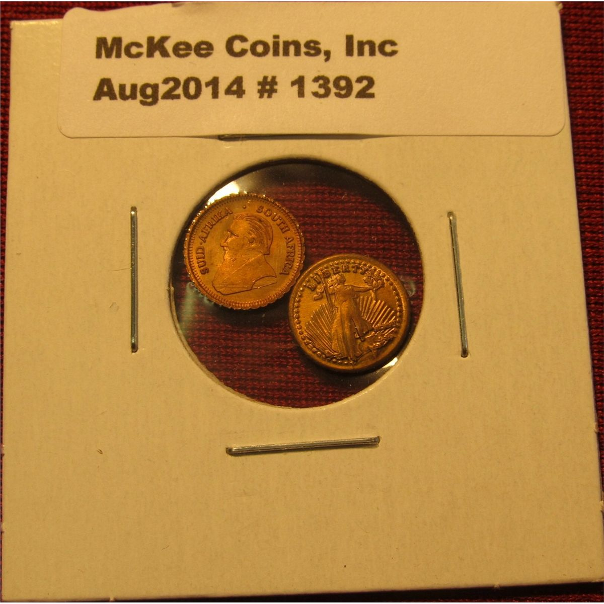 Image 1 : 1392. Mini-money – 2 miniature versions of gold coins ...