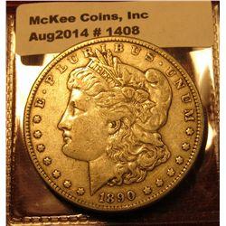 1408. 1890 P Morgan Silver Dollar VF
