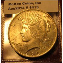 1413. 1923 P Peace Silver Dollar BU , MS63+