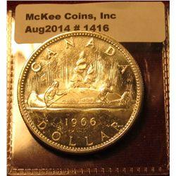 1416. 1966 Canada Silver Dollar BU