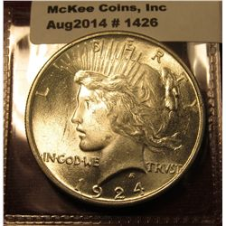 1426. 1924 P Peace Silver Dollar BU  MS64+ blast white