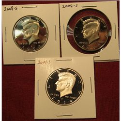 1435. 3 Proof Kennedy Halves – 2008-S, 2009-S & 2014-S