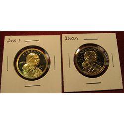 1449. 2 Proof Sacagawea Dollars – 2000-S & 2002-S