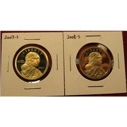 1450. 2 Proof Sacagawea Dollars – 2007-S & 2008-S