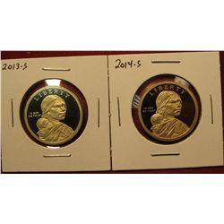 1452. 2 Proof Sacagawea Dollars – 2013-S & 2014-S