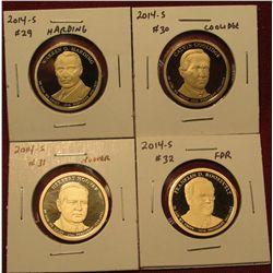 1455. Set of 4 2014-S Presidential Dollars