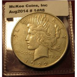 1488. 1922 P Peace Silver Dollar XF