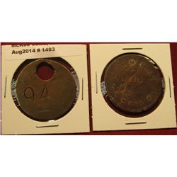 1493. 2 Coal tokens – crude brass coal car ticket (to track a worker's weight of coal shoveled in th