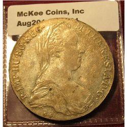 1501. 1780 Austria Thaler, circulated VF/XF, large silver coin