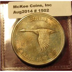 1502. 1967 Canada Silver Dollar BU  reverse is toned