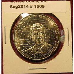 1509. 2002 Liberia $10 commemorative coin – George W. BU sh 44th President of US