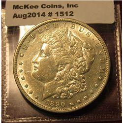 1512. 1890-S Morgan Silver Dollar, AU 58+