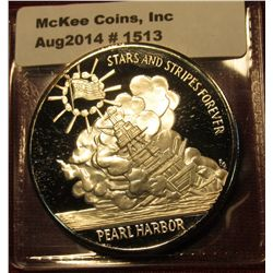 1513. Stars & Stripes Forever / Pearl Harbor 60th Anniversary commemorative medal, silver clad