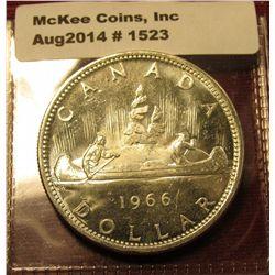 1523. 1966 Canada Silver Dollar BU