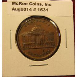 1531. 1837 Hard Times token – Merchants Exchange BU ilding / New York Joint Stock Exchange Company X