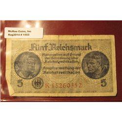 1553. 1939-45 World War II Reich's Credit Treasury Note. Pick # R138. 5 Reichsmark. 8 digit serial n