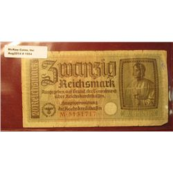 "1554. 1939-45 World War II Reich's Credit Treasury Note. Pick # R139. 20 Reichsmark. Depicts ""The Ar"