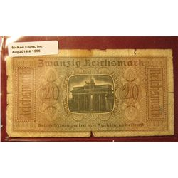 "1555. 1939-45 World War II Reich's Credit Treasury Note. Pick # R139. 20 Reichsmark. Depicts ""The Ar"