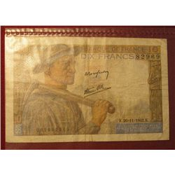 1559. 1942 World War II France 10 Francs Bank Note. Depicts Farmer and Wife.