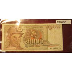 1564. 1987 Yugoslavia 20,000 Dinara Bank note.