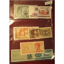 1565. (6) Foreign Bank notes in plastic pages. All CU or nearly so.