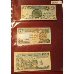 1568. (2) Central Bank of Iraq Bank notes & a 200 Rials Islamic Republic of Iran Bank note. All CU.