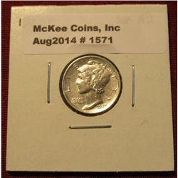 1571. 1923 P Mercury Dime. EF-AU.