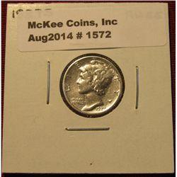 1572. 1927 S Mercury Dime. AU 55.