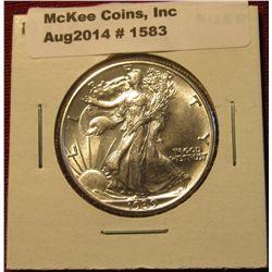 1583. 1939 P Walking Liberty Half Dollar. AU 58.