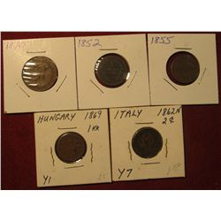 1585. 1870 Spain, 1852 Austria, 1855 Germany, 1859 Hungary,  & 1862 Italy Coppers.
