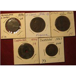 1587. 1863 Italy .10c; 1839S Netherlands East Indies 2c; 1867 Sweden 2 Ore; 1894 Sarawak 1c, & 1856B