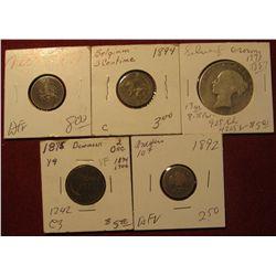 1592. 1892 Mexico Silver .10c; 1875 Denmark 2 Ore; (1839-1887) Great Britain Silver Half Crown; 1894