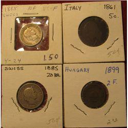 1594. 1899 Hungary 2f; 1885 Switzerland 20 Rappan; 1861 Italy 5c; & 1885 Switzerland 10c.