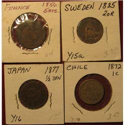 1595. 1856 France 5cts.; 1885 Sweden 2 Ore; 1877 Japan 1/2 Sen; & 1872 Chile 1c.