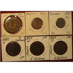 1596. 1880 Japan 2 Sen; 1863 Belgium 2c; 1886 Columbia 5c; 1880A France 5c; 1854W France 5c; & 1854D