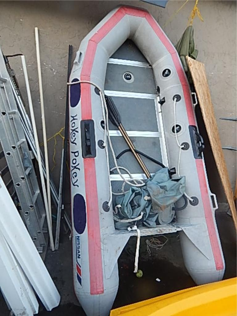 NISSAN INFLATABLE BOAT - 12' LONG - ALUMINUM HARD BOTTOM - INCLUDES