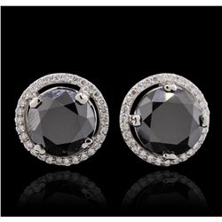 14KT White Gold 6.63ctw Black Diamond and Diamond Earrings GB6424