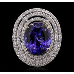 14KT White Gold GIA Certified 12.54ct Tanzanite and Diamond Ring A9513