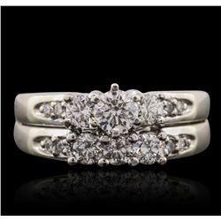 14KT White Gold 0.97ctw Diamond Ring Wedding Set GF114