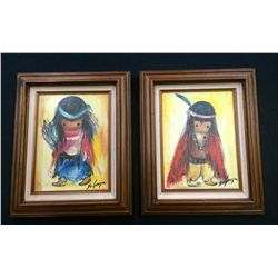 Pair of DeGrazia Canvas Transfer Prints