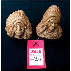 Pair of Stone head Sculptures