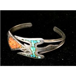 Turquoise and Coral Chip Inlay Sterling Cuff