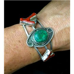 Coral and Turquoise Cuff Bracelet