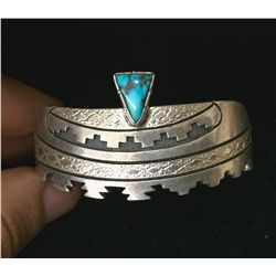 Turquoise and Sterling Navajo Cuff Bracelet