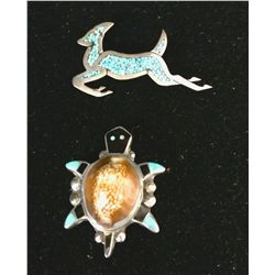 Turquoise and Sterling Brooch Lot