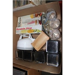 BOX W/ BROWN MIXER, SLICER, CANISTER, ETC.